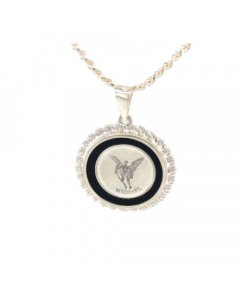 Michael Rope & Onyx Necklace, Sterling Siver